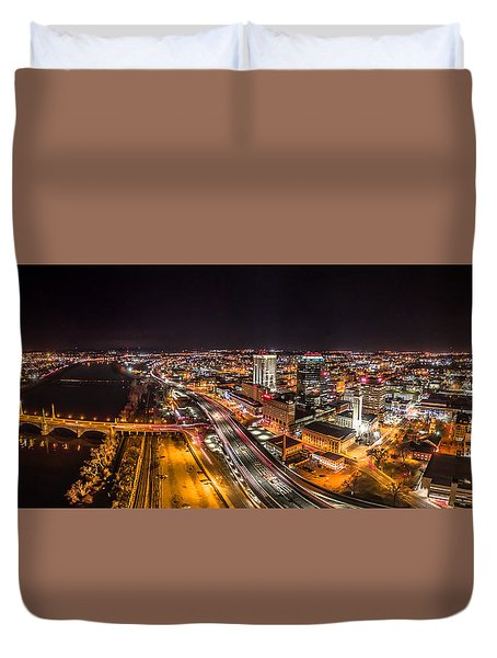Springfield Massachusetts Night Long Exposure Panorama Duvet Cover