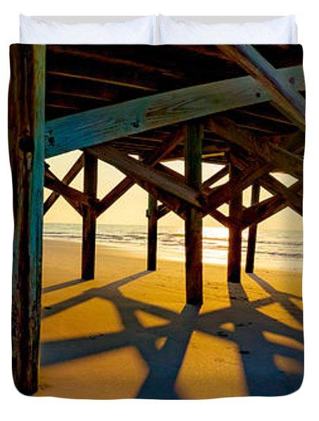 Springmaid Pier At Sunrise Duvet Cover