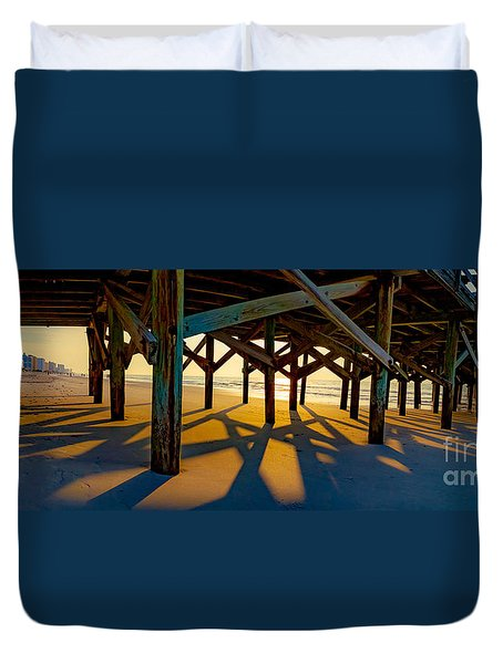 Springmaid Pier At Sunrise Duvet Cover