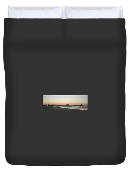 Springmaid Pier Sunrise Duvet Cover by Gordon Mooneyhan