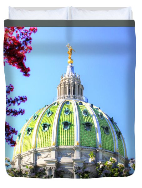 Duvet Cover featuring the photograph Spring's Arrival At The Pennsylvania Capitol by Shelley Neff