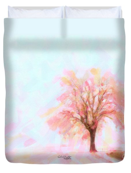 Duvet Cover featuring the painting Springtime by Chris Armytage