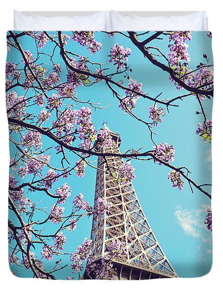 Springtime In Paris - Eiffel Tower Photograph Duvet Cover