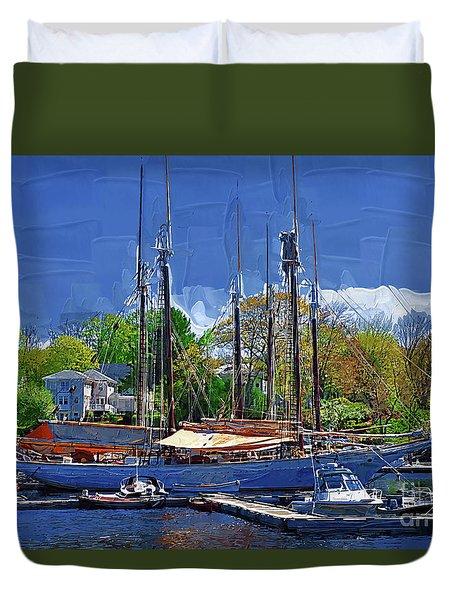 Springtime In The Harbor Duvet Cover by Kirt Tisdale