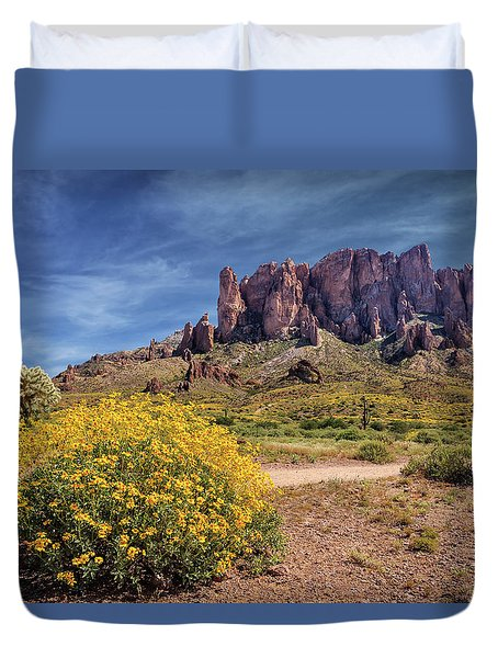 Springtime In The Superstition Mountains Duvet Cover by James Eddy