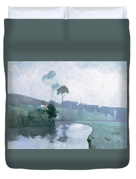 Duvet Cover featuring the painting Springtime by John Henry Twachtman