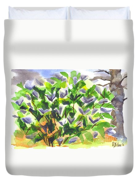 Duvet Cover featuring the painting Springtime Lilac Abstraction by Kip DeVore