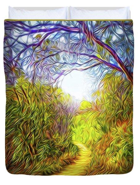 Springtime Pathway Discoveries Duvet Cover