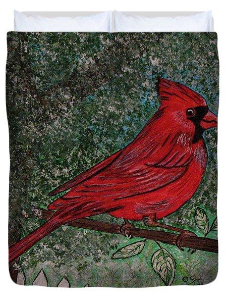 Springtime Red Cardinal Duvet Cover