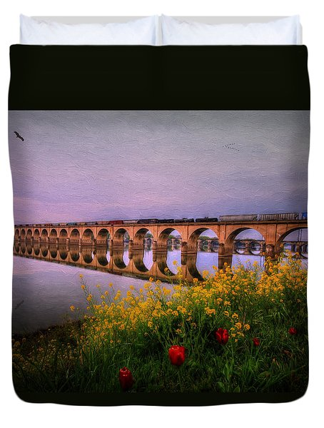 Duvet Cover featuring the photograph Springtime Reflections From Shipoke by Shelley Neff