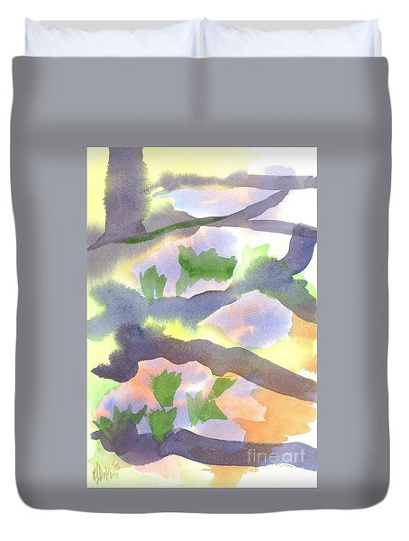 Duvet Cover featuring the painting Springtime Wildflower Camouflage  by Kip DeVore