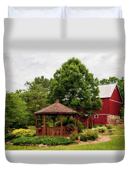 Duvet Cover featuring the photograph Springwater Park by Trey Foerster