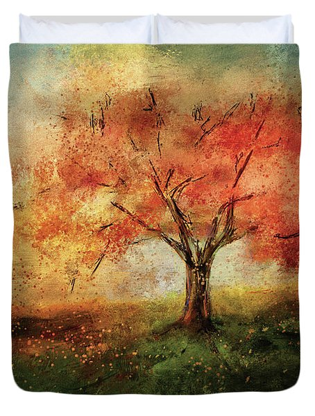 Duvet Cover featuring the digital art Sprinkled With Spring by Lois Bryan