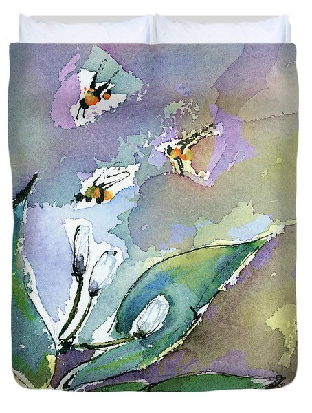 Sprint Fever Watercolor And Ink Duvet Cover