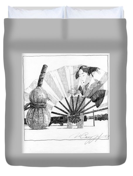 Spirit Of Japan. Pumpkin Jar And Fan Duvet Cover