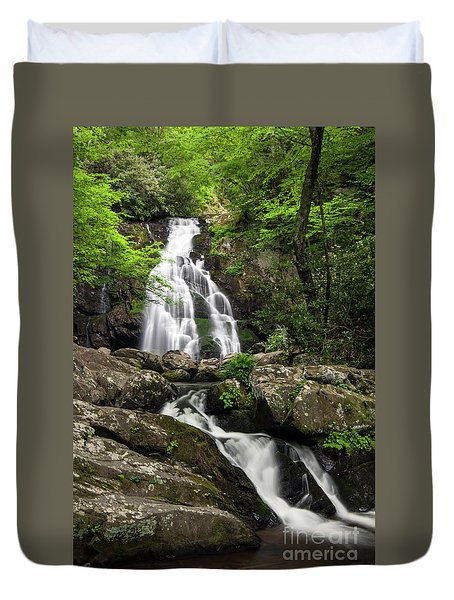 Duvet Cover featuring the photograph Spruce Flats Falls - D009919 by Daniel Dempster