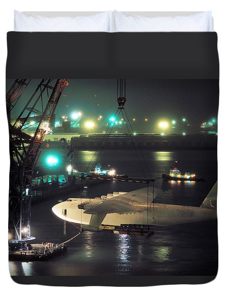 Spruce Goose Hanging From Crane February 10 1982 Duvet Cover by Brian Lockett