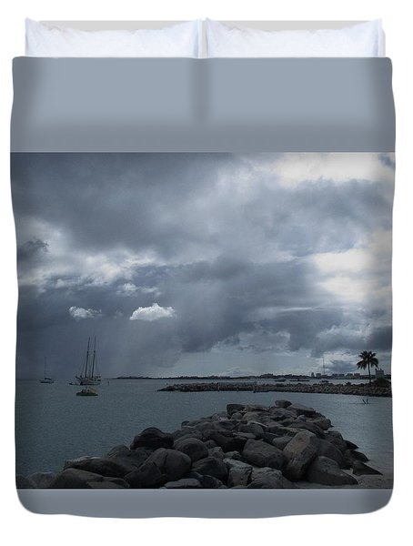 Squall In Simpson Bay St Maarten Duvet Cover