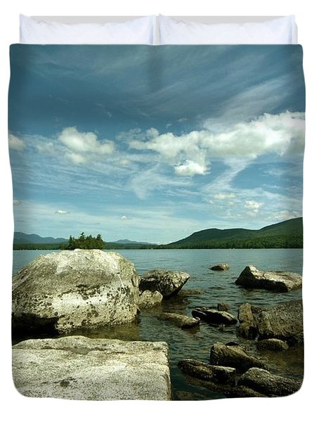 Squam Lake On The Rocks Duvet Cover by Rick Frost