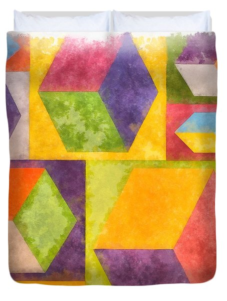 Square Cubes Abstract Duvet Cover