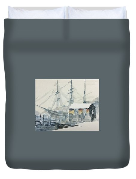Duvet Cover featuring the painting Square Rigger by Stan Tenney