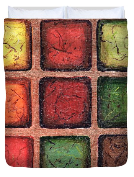 Squared In Bronze Duvet Cover
