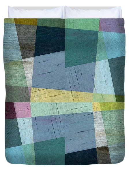 Squares And Shims Duvet Cover by Michelle Calkins