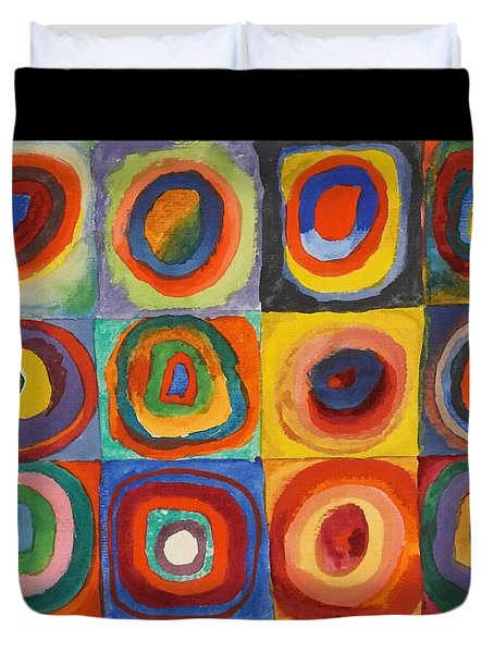 Squares With Concentric Circles Duvet Cover by Wassily Kandinsky