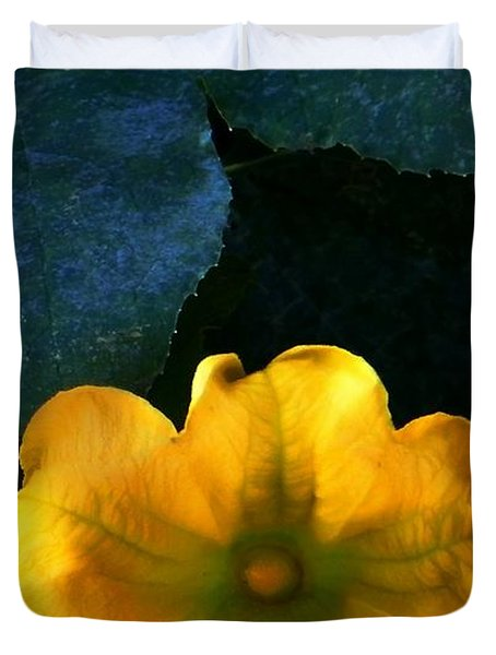Duvet Cover featuring the photograph Squash Blossom by Lenore Senior