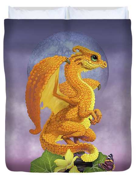 Duvet Cover featuring the digital art Squash Dragon by Stanley Morrison