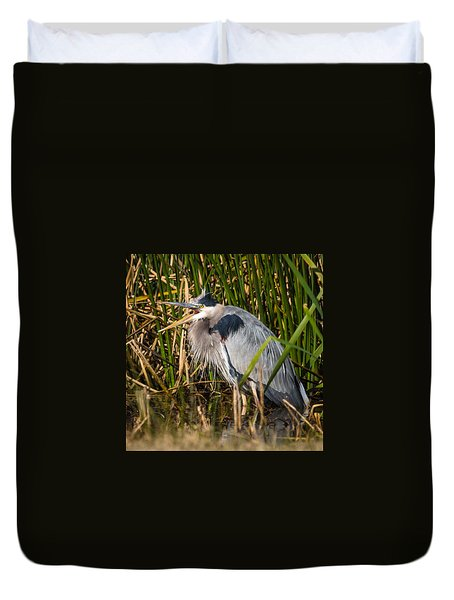 Squawking Heron Duvet Cover