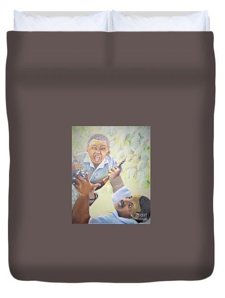Duvet Cover featuring the painting Squeals Of Joy by Saundra Johnson
