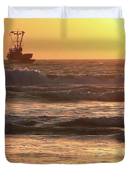 Squid Boat Golden Sunset Duvet Cover