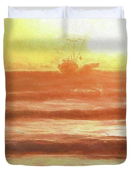 Squid Boat Sunset Duvet Cover