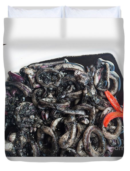 Duvet Cover featuring the photograph Squid In Ink by Atiketta Sangasaeng