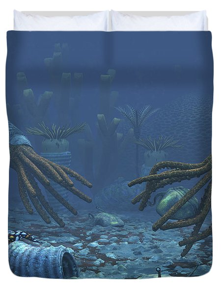Squid-like Orthoceratites Attempt Duvet Cover