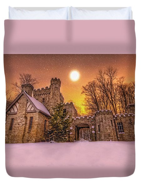Duvet Cover featuring the photograph Squires Castle In The Winter by Brent Durken