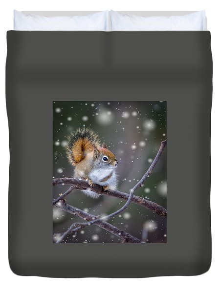 Duvet Cover featuring the photograph Squirrel Balancing Act by Patti Deters