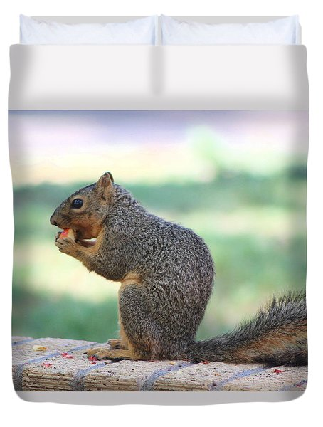 Squirrel Eating Crab Apple Duvet Cover by Colleen Cornelius