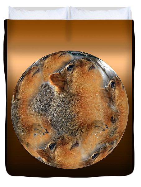 Squirrel In A Ball Duvet Cover