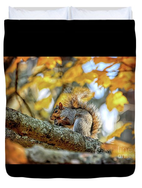 Duvet Cover featuring the photograph Squirrel In Autumn by Kerri Farley of New River Nature