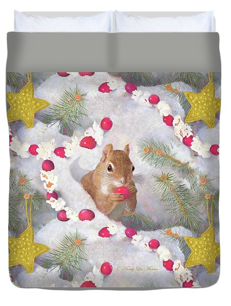 Duvet Cover featuring the painting Squirrel In Snow With Cranberries by Nancy Lee Moran