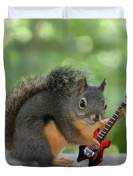 Squirrel Playing Electric Guitar Duvet Cover