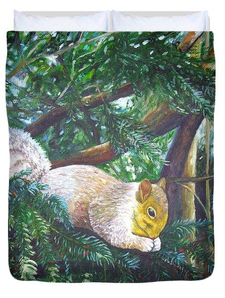 Squirrel Snacking Duvet Cover