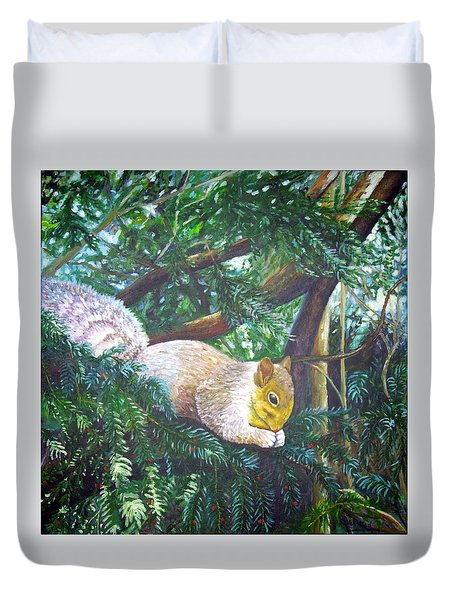 Squirrel Snacking Duvet Cover