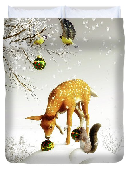 Squirrels And Deer Christmas Time Duvet Cover