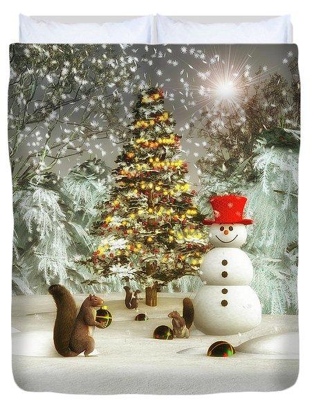 Squirrels Decorating Christmas Duvet Cover
