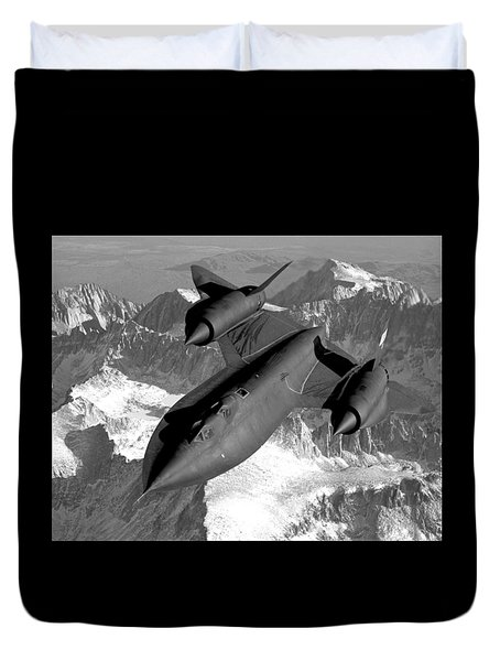 Sr-71 Blackbird Flying Duvet Cover by War Is Hell Store