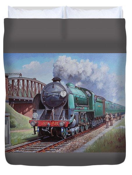 Duvet Cover featuring the painting Sr King Arthur Class. by Mike  Jeffries