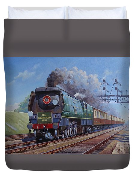 Duvet Cover featuring the painting Sr Merchant Navy Pacific by Mike  Jeffries